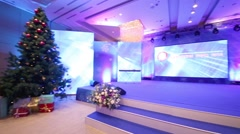 Scene with a large display in the hall of Lotte Hotel Moscow Stock Footage