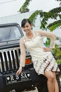 Indonesian bridal couples prewedding photoshoot - stock illustration