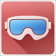 Flat icon with Classic snowboard ski goggles - stock illustration