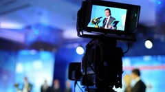Videographer shoots the ceremony of awarding the winners Stock Footage