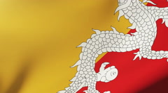 Bhutan flag waving in the wind. Looping sun rises style.  Animation loop Stock Footage