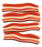 Pieces of fried bacon illustration Stock Illustration