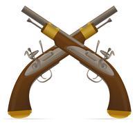 Old retro flintlock pistol illustration Stock Illustration