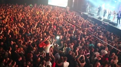 People dancing at the concert in Arena Moscow nightclub. Stock Footage