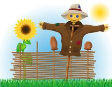 Scarecrow straw in a coat and hat with fence and sunflowers Stock Illustration