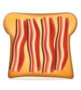 toast with bacon illustration - stock illustration