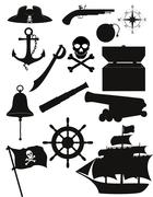 set of pirate icons black silhouette illustration - stock illustration