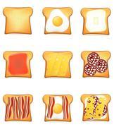 Stock Illustration of set icons toast illustration