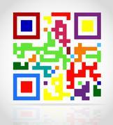 multicolored qr code illustration - stock illustration