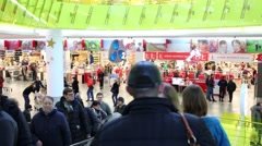 People are shopping at the mall Mega, Moscow. Stock Footage