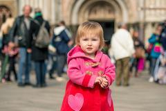 Little girl walking  in Venice Stock Photos