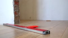 Parquet during installation in a new apartment with the level Stock Footage