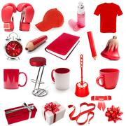 different isolated objects red color - stock photo