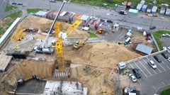 Construction site with lots of building machinery Stock Footage