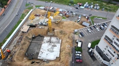 Construction site with foundation of building under construction Stock Footage