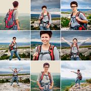 Girl in a mountainous landscape Stock Photos