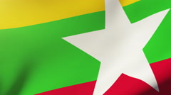 Burma flag waving in the wind. Looping sun rises style.  Animation loop Stock Footage