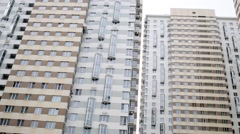 Exterior of the high density social housing block. - stock footage