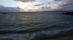 Mytikas Beach sunset view (Greece, Lefkada). Stock Footage