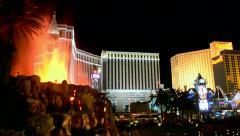 Fire show on the Las Vegas Strip in Las Vegas, Nevada. Stock Footage