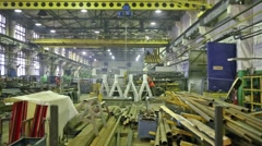 Workplace with many tubes and trailers in the factory. Stock Footage