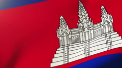 Cambodia flag waving in the wind. Looping sun rises style.  Animation loop Stock Footage
