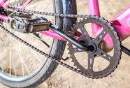 Stock Photo of Close up mountain bike crankset with chain