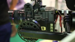Moving camera at Cinema production service 2014 exhibition Stock Footage