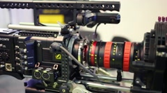 Modern camera Sony at Cinema production service 2014 exhibition Stock Footage