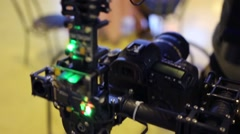 Steadicam test at Cinema production service 2014 exhibition Stock Footage