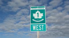 Trans Canada Highway 1 sign in Saskatchewan, Canada. Handheld. Rack focus. Stock Footage