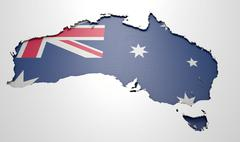 Recessed Country Map Australia - stock illustration