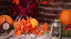Interior of room with pumpkins, leaves and timbered walls Stock Footage