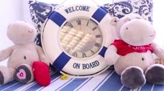 Lifebuoy, toys on windowsill in Photo Studio Lilyum. Stock Footage