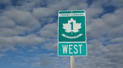 Trans Canada Highway 1 sign in Saskatchewan, Canada. Stock Footage