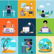 Freelance, work from the house. Modern concept flat design - stock illustration