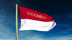 Indonesia flag slider style with title. Waving in the wind with cloud background Stock Footage