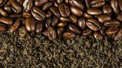 Roasted coffee beans and tea leafs background rotation Stock Footage