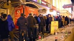 Queue to night club Stadium Live at Trancemission party Stock Footage
