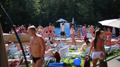 People rest near pool the Bassein In Sokolniki. Stock Footage