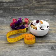 Centimeter and granola with yogurt Stock Photos