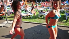 Women in swimsuits dance near pool the Bassein In Sokolniki. Stock Footage
