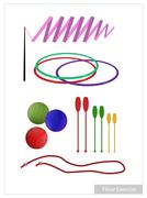 Set of Rhythmic Gymnastic Equipments on White Background Stock Illustration