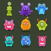 Stock Illustration of Monsters Lovely Vector Illustration
