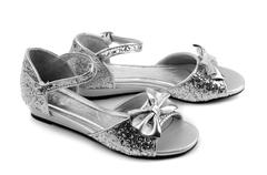 Dressy sandals with rhinestones for girls Stock Photos