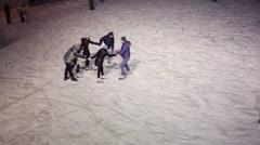 People on skating rink in evening. Population Samara - 1,1 mln people Stock Footage
