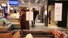 People in Ikea in Samara. Ikea Founded in Sweden in 1943 Stock Footage