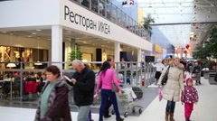 People walk in Ikea in Samara. Ikea Founded in Sweden in 1943 Stock Footage