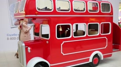 Red bus in Ikea in Samara. Ikea Founded in Sweden in 1943 Stock Footage