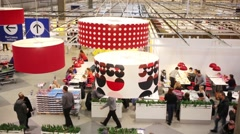 Lamps and food court in store of Ikea in Samara. Stock Footage